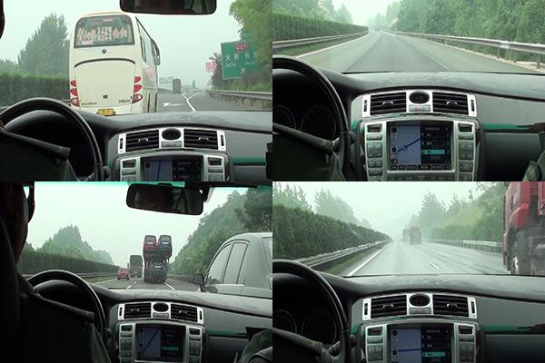 总计3小时22分的旅程中,经历了包括其它车辆超速行驶和违规超车、车道线模糊、部分路段雨、雾天气等在内的复杂路况。